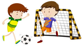 Two boys playing football Royalty Free Stock Photo