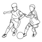 Two boys playing football together vector illustration sketch doodle hand drawn with black lines isolated on white background.  royalty free illustration