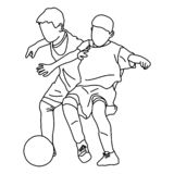 Two boys playing football vector illustration sketch doodle hand drawn with black lines isolated on white background.  vector illustration
