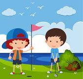 Two boys playing golf in the field. Illustration Stock Images