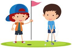 Two boys playing golf. Illustration Royalty Free Stock Photo