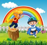 Two boys playing hero in the park. Illustration Vector Illustration