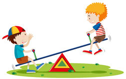 Free Two Boys Playing Seesaw In The Park Royalty Free Stock Images - 71497129