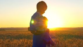 Two boys playing at sunset in a field of wheat among the golden spikelets. One boy sits on the shoulders of another boy stock video footage