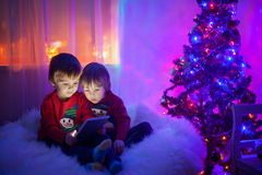 Two boys, playing on tablet at home, next to christmas tree Stock Photos