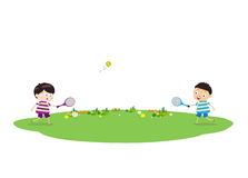 Two boys playing tennis. Little Children happy playing illuttration stock illustration