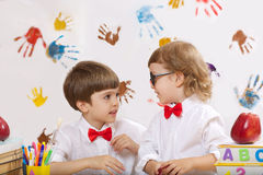 Two boys are playing together stock image