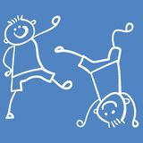 Two boys playing vector illustration