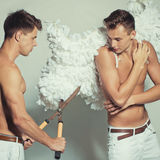 Two boys posing in studio Stock Image