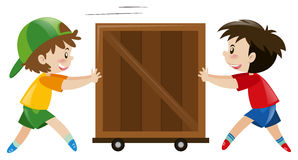 Two boys pushing wooden box. Illustration Stock Image