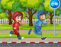 Two boys in raincoat running on pavement. Illustration Royalty Free Stock Photography