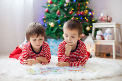 Two boys, reading a book in front of Christmas tree. At home Royalty Free Stock Photo