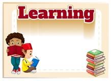 Two boys reading books. Illustration Stock Image