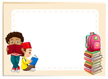 Two boys reading books. Illustration Royalty Free Stock Photography
