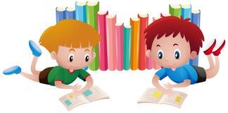 Two boys reading books. Illustration Stock Photo