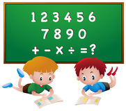 Two boys reading books with numbers. Illustration Royalty Free Stock Photography