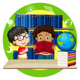 Two boys reading books at school. Illustration Royalty Free Stock Photo