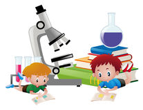Two boys reading books and science equipments in background. Illustration Royalty Free Stock Images