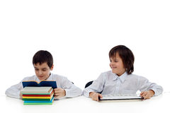 Two boys reading Stock Image