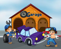 Two boys repairing the violet car Stock Photo