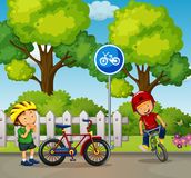 Two boys riding bike in the park. Illustration Royalty Free Stock Image