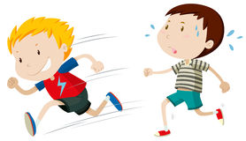 Two boys running fast and slow Stock Photo
