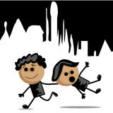 Two boys running Stock Images