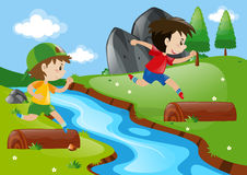 Two boys running in the park. Illustration Stock Photo