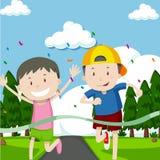 Two boys running in race. Illustration Stock Photos