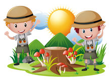 Two boys in safari outfit. Illustration Royalty Free Illustration