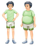 Two boys with same shirt but of different body sizes Stock Photo