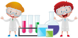 Two boys and science equipments. Illustration Royalty Free Stock Images
