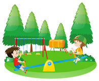 Two boys on seesaw. Illustration Royalty Free Stock Image