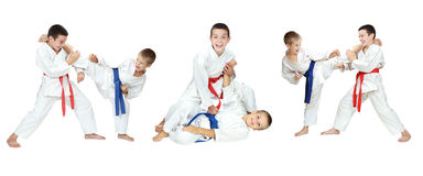Two boys show of self-defense techniques a collage Stock Photos