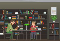 Two Boys Sit at Table and Read Books in Library. With bookcase and plant on background. Vector illustration of young male people that learn new information in Stock Images