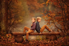 Two boys sitting on a bench in autumn Park. Royalty Free Stock Image