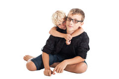 Two boys sitting on floor Royalty Free Stock Photo