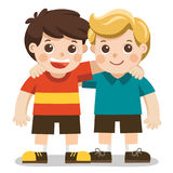 Two boys smile, hugging. Happy kids best friends. Together vector illustration