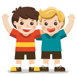 Two boys smile, hugging and waving their hands. Happy kids best friends Royalty Free Illustration