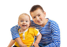 Two  boys smile isolated on a white background Stock Image