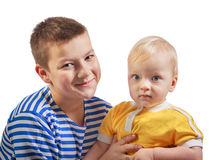 Two  boys smile isolated on a white background Royalty Free Stock Image