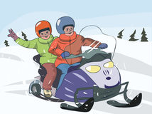 Two boys on snowmobile. Hand-drawing vector illustration Stock Illustration