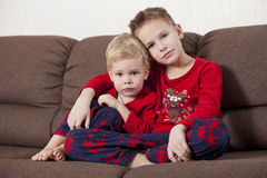 Two boys on the sofa Stock Photo