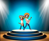 Mexican party.Two boys in sombrero with a guitar on stage.Mexican macho. Two boys in sombrero with a guitar on stage.Mexican macho.Mexican party stock images