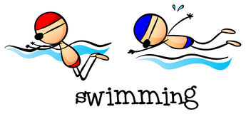 Two boys swimming Stock Images