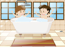 Two boys taking bath together in tub. Illustration Stock Photo