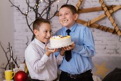Kids tasting Cake. Two boys taking a bite out of a huge birthday cake with whipped cream Royalty Free Stock Photos
