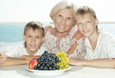 Two boys  with their grandmother Royalty Free Stock Photo