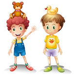 Two boys with their toys above their heads. Illustration of the two boys with their toys above their heads on a white background Royalty Free Stock Image