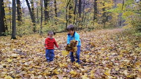 Two boys throwing up autumn leaves stock video footage